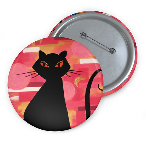 """""""The Cat Who Caught The Canary"""" Custom Pin Buttons"""