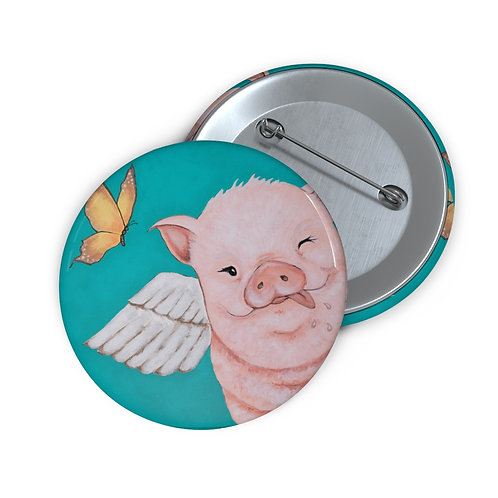 """""""Porkchop"""" The Flying Pig Custom Pin Buttons"""