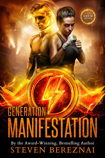 Muscular young man with athletic young woman on the cover of book Generation Manifestation by Steven Bereznai.