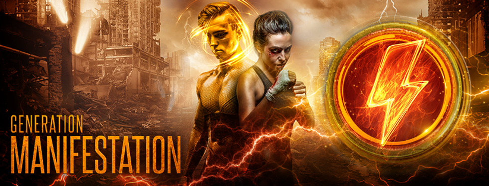 Banner image of YA dystopian superhero novel Generation Manifestation with an athletic young man and woman.