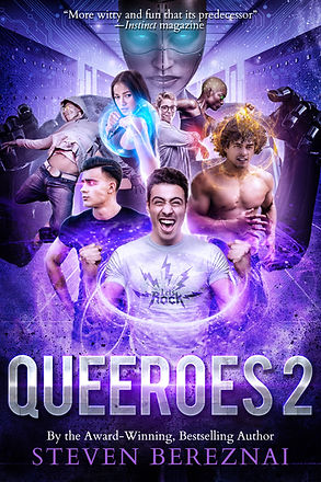 Book cover for author Steven Bereznai's young adult gay superhero book Queeroes_