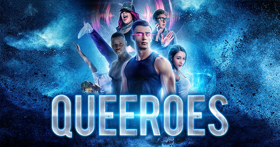 Banner image for author Steven Bereznai's website for his book Queeroes about gay teens with superpowers. Shows muscular young men and strong women.