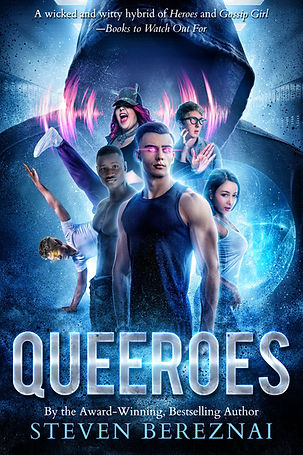 Cover image of author Steven Bereznai gay teen superhero book Queeroes.