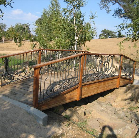 Private residence, bridge railing