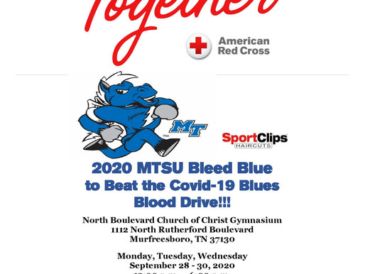 Donate Blood at MTSU'S Bleed Blue to Beat the COVID-19 Blues Blood Drive