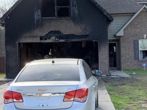 Vehicle Fire Burns Garage