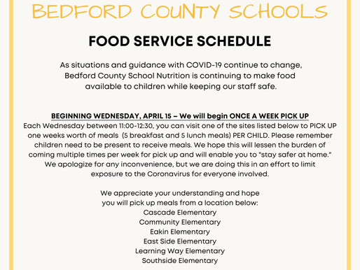 Bedford County Schools Announce New Food Pickup Time