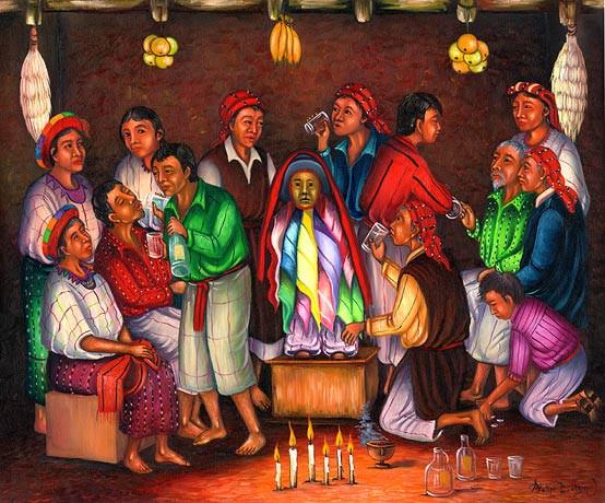 Raffigurazione del Maximòn di Santiago - Felipe Batzim Navichoc: El Brindis de Maximón (The Celebration of Maximón), 2001