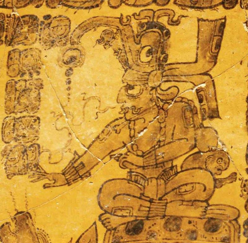 Kinich Ahau - Dio Maya del Sole - pittura su vaso del periodo classico