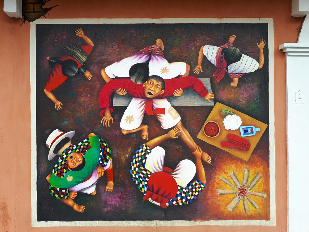 Curanderos all'opera - Murale di San Juan La Laguna ( Sololà - Guatemala)