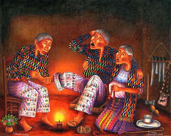 Dipinto Maya in cui appare uno huesero nell'arte di aggiustare le ossa