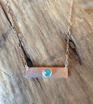 Blue Dot Bar Necklace