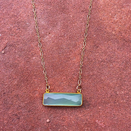 Sea of Green Chalcedony Bar Necklace