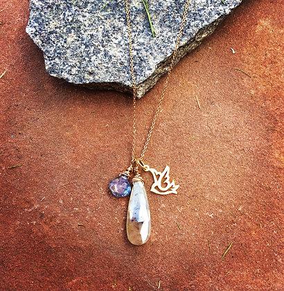 Dove and Double Quartz Necklace
