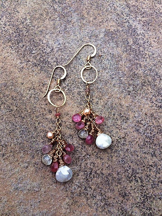Topaz and Sapphire Pink Trinket Earrings