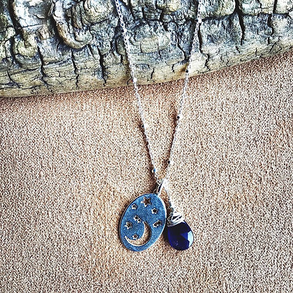 By the Light of the Silvery and Blue Moon Necklace