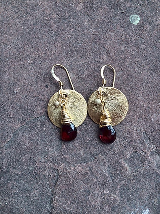 Garnet Dot Earrings