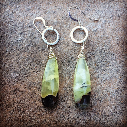 Moss and Earth Prehnite Sterling Earrings