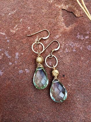 Green Amethyst Sparkle Set Earrings