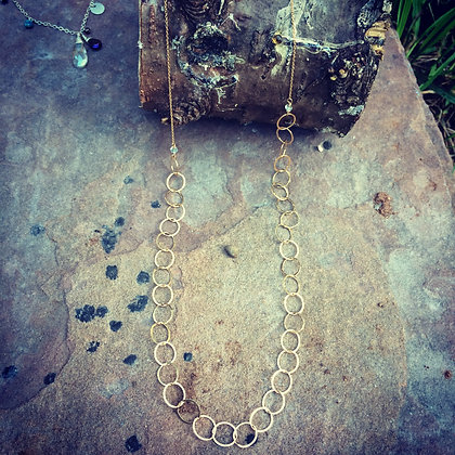 Long and Lovely Gold Circle Necklace