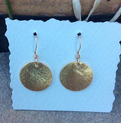Gold Moon Disc Earrings