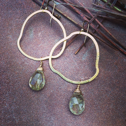 Organica Earrings with Rutilate Quartz