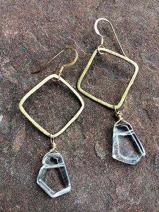 Golden Square Sparkle Earrings