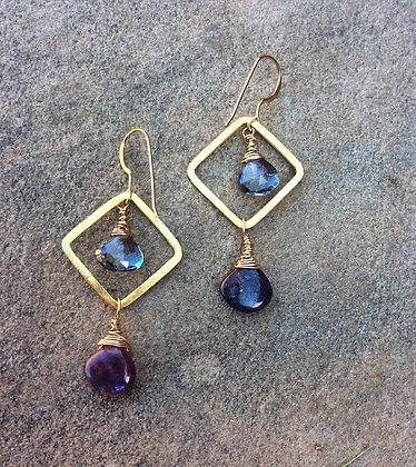 Diamond Dangle Kyanite and Quartz Earrings