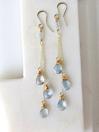 Aquamarine Waterfall Earrings