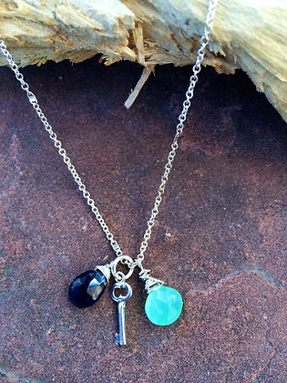 Key to my Heart Necklace with Opal and Iolite