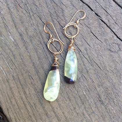 Yin and Yang Prehnite Earrings