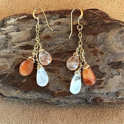 Triple Sunburst Earrings