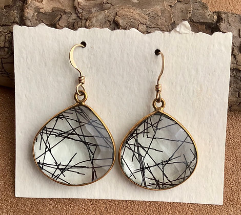 Tourmilated Zebra Quartz Earrungs