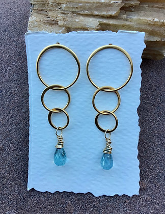 Lady of the Rings Earring with Aqumarine