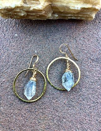 Icy Gold Moon Earrings