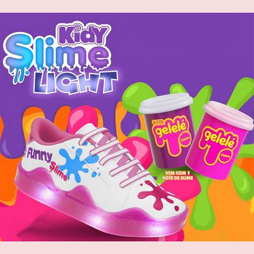 Tênis Kidy Slime Light Branco/Rosa - Com 1 pote de slime