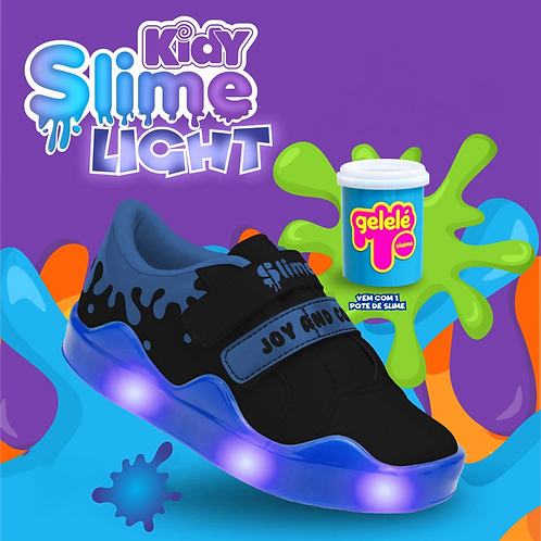 Tênis Kidy Slime Light Preto/Azul - Com 1 pote de slime