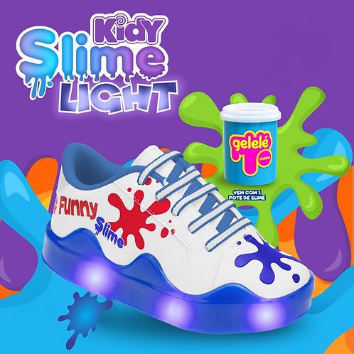 Tênis Kidy Slime Light Branco/Azul - Com 1 pote de slime