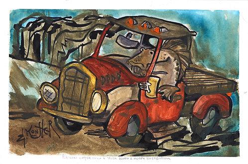 Flathead Catfish Driving a Truck Along a Muddy Riverbottom
