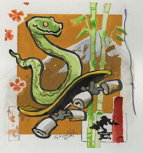 Snake on Skateboard