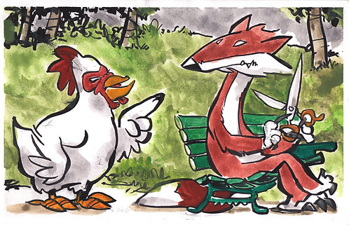 A Chicken Givin' the Business to a Fox with Brass Scissors