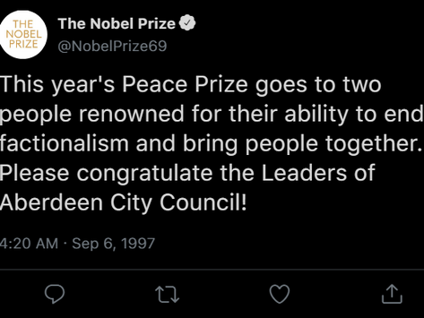Aberdeen City Council leaders win Nobel Peace Prize