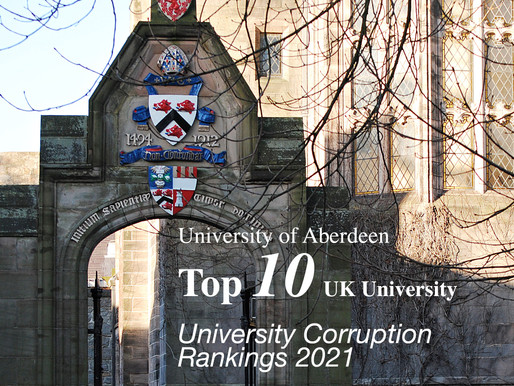 University Corruption Rankings: University of Aberdeen makes top 10 in the UK