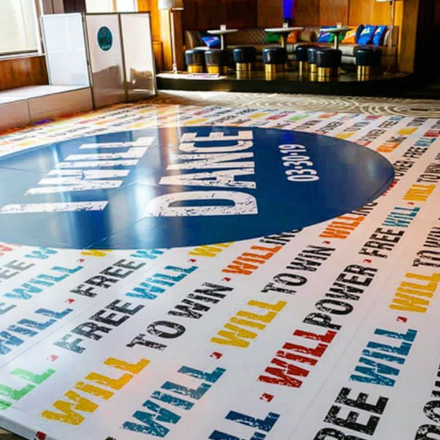 colorful dance floor featuring graphics