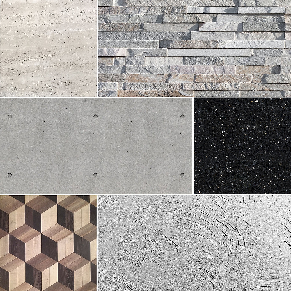 Traverter, taş, dekoratif sıva, ahşap, galaxy mermer, beton