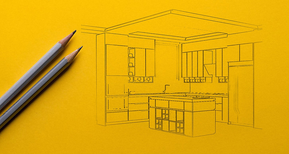 Mutfak tasarımı interior sketch drawing