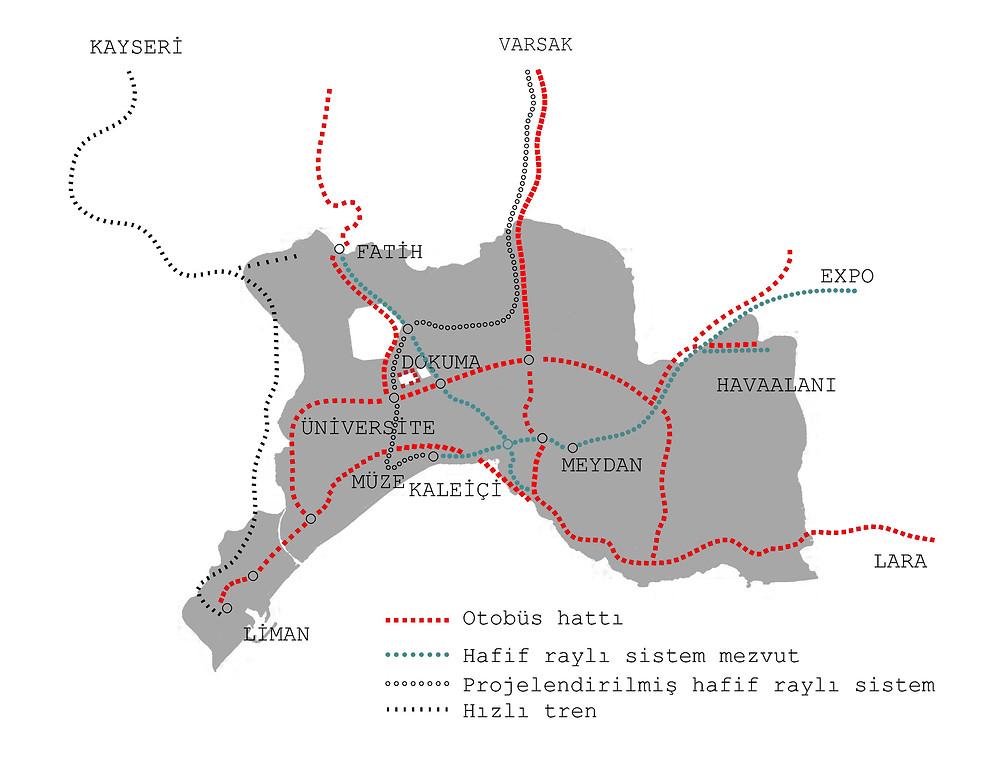 Antalya Raylı Sistem Kurgusu ve Otobüs hattı