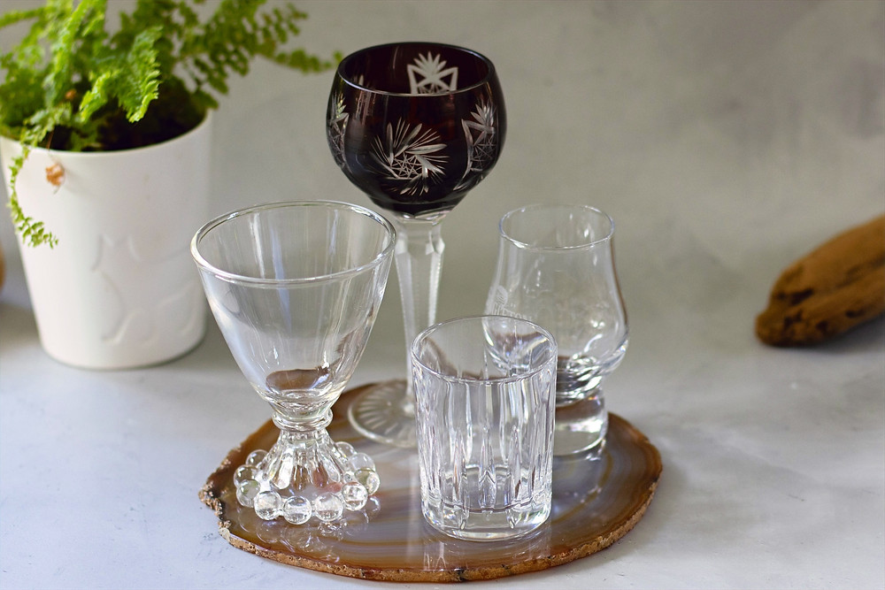 cordial glasses, replace your shot glass with a cordial glass, glassware for serving port or sherry or liqueur, the perfect glasses for small sips