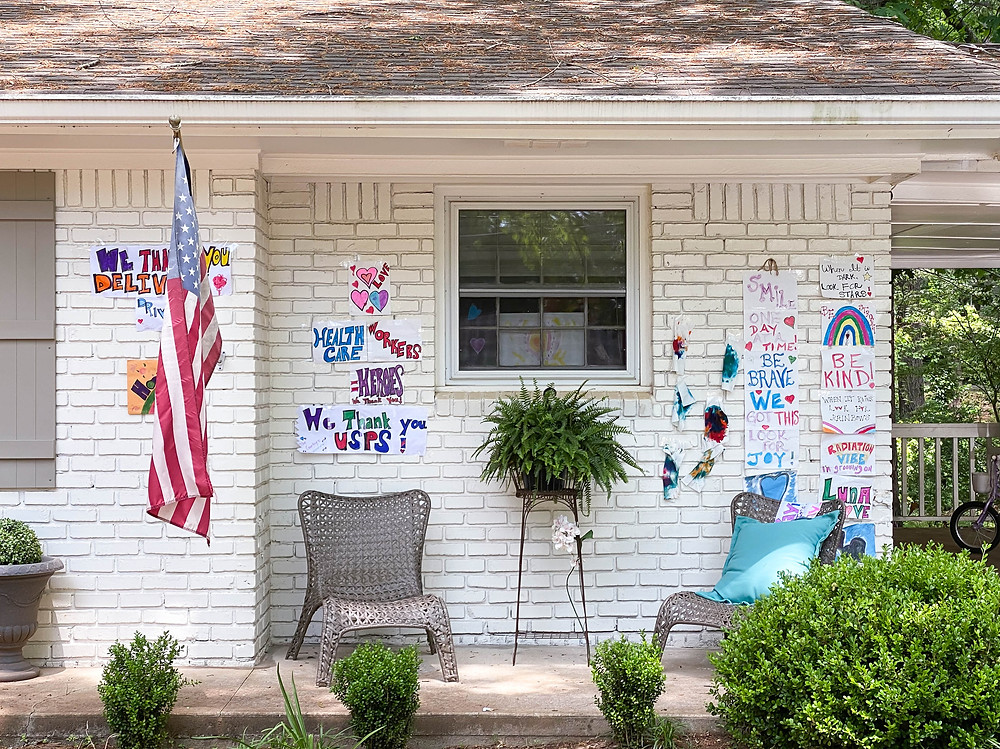 Hand drawn signs and messages of support to healthcare and frontline workers and delivery people made by children during shelter in place in Marietta Georgia, discover, parched for life, american flag, patriotism