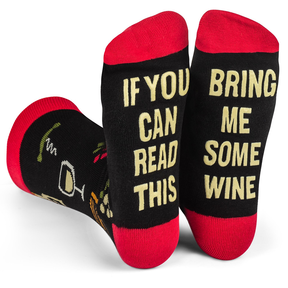 Bring me some wine socks, wine-themed socks for the wine lover in your life